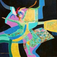 Acrylic on Stretched Canvas  Size: (600x600x25)mm,  Frame: (610x610x35)mm  SOLD 2008