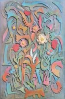 Mixed Media on Stretched Canvas  Size: (610x920x30)mm,  Frame: (630x940x50)mm  GIFT 2009